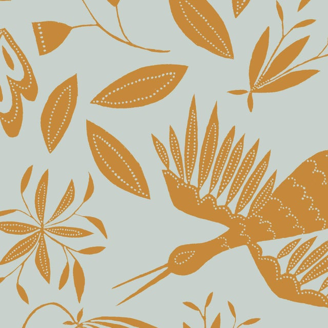 Transitional Julia Kipling Otomi Grand Wallpaper, 3 Yards, Ocre Sky For Sale - Image 3 of 3