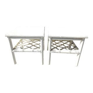 1970s Ficks Reed Co. Rattan End Tables - a Pair For Sale