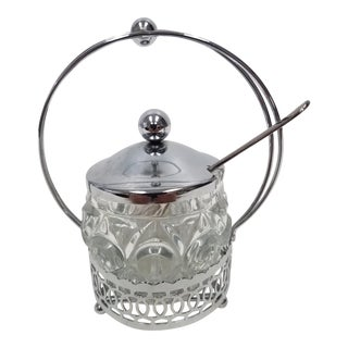 Antique English Jelly Condiment Jar With Silver Plate Top and Spoon For Sale