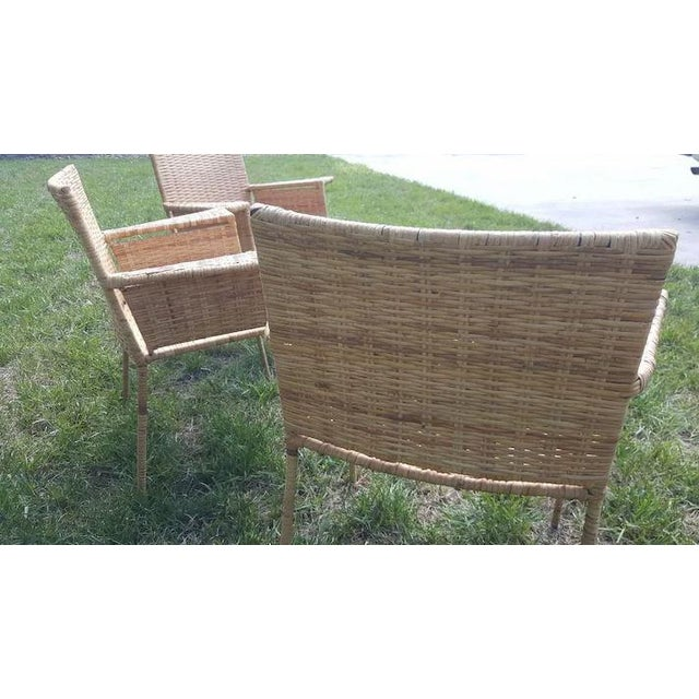 Brown Van Keppel and Green Wicker and Wrought Iron Chairs - Set of 3 For Sale - Image 8 of 11