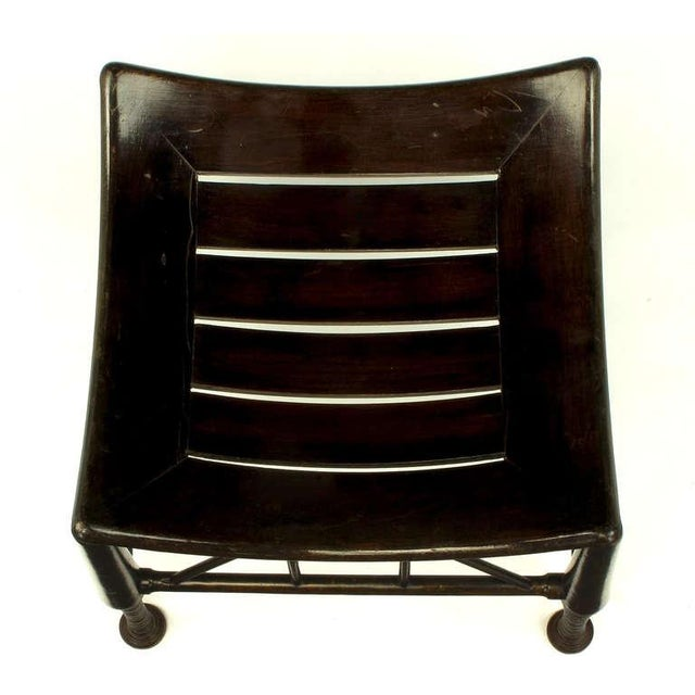 Dark Oak Egyptian Revival Thebes Stool, circa 1900, Liberty & Co. Attributed For Sale - Image 4 of 8