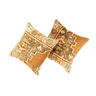 Vintage Turkish Pasargad Hand Knotted Rug Pillows - a Pair For Sale