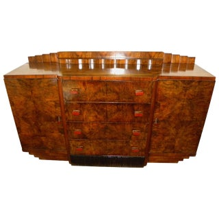 Bookmatched Dining Art Deco Storage Cabinet For Sale