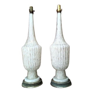 Vintage Mid 20th Century Murano Glass Lamps - a Pair For Sale
