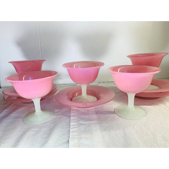 1920s 1920s Antique Steuben Carder Pink Rosaline Glass Goblets With Matching Plates - Set of 10 For Sale - Image 5 of 12