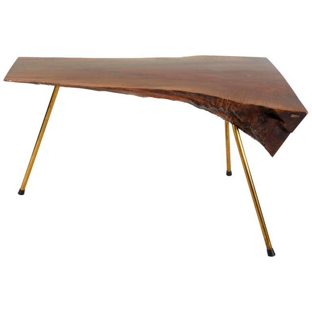 Brass Walnut Table by Carl Auböck For Sale - Image 7 of 7