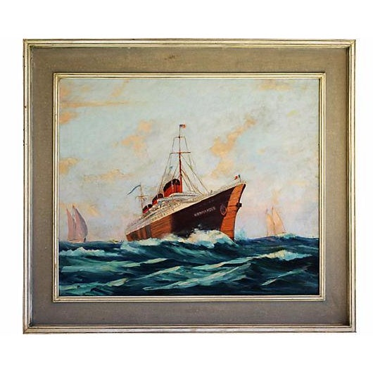 Oil painting of the iconic SS Normandie, an ocean liner built in France that entered the service in 1935. Unsigned....