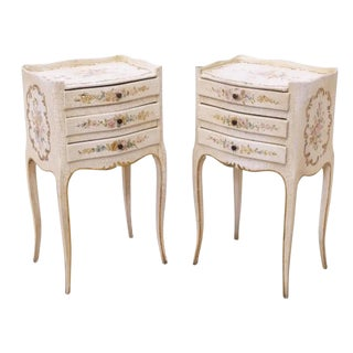 Venetian Louis XV Style Floral Side Tables/Nightstand - a Pair For Sale