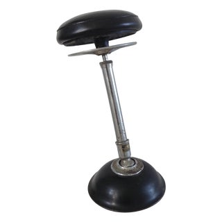 Industrial Black Pivoting Stool For Sale