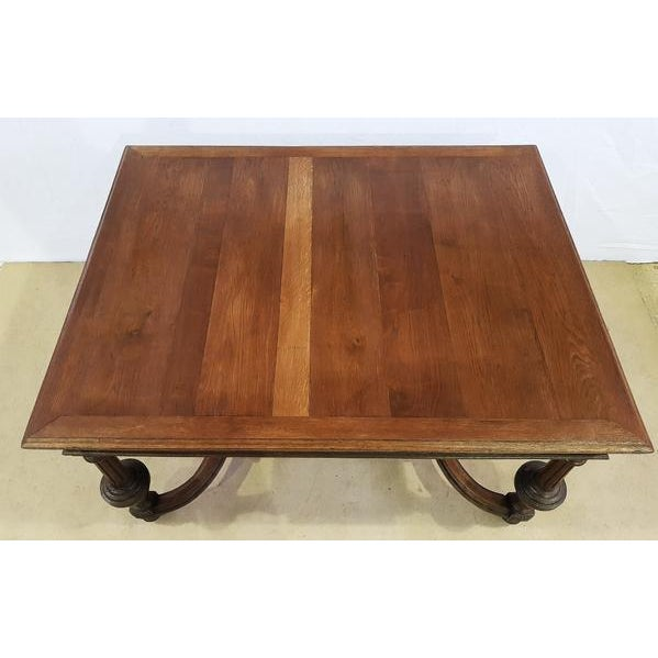 Rectangular Carved Antique French Jacobean Style Oak Dining Table For Sale - Image 4 of 12