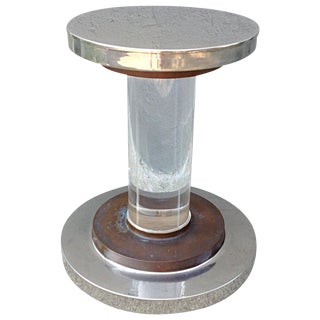 1970s Mid-Century Modern Romeo Rega Lucite Nickel and Copper Pedestal