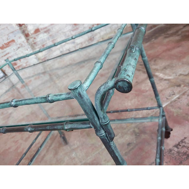 1930s Vintage Faux Bamboo Patinated Bronze Serving Bar Cart For Sale In Los Angeles - Image 6 of 11