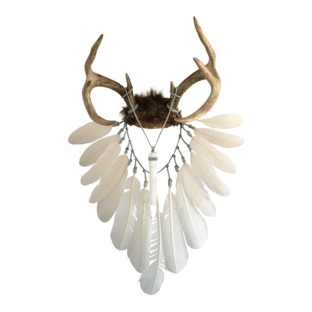 Cream & White Feathers With Selenite Crystal on Deer Antlers - Image 1 of 4