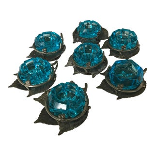 Faceted Cerulean Blue Glass Salt Cellars in Leaf Holders - Set of 7 For Sale
