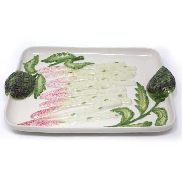 "A vintage ceramic tray with white asparagus and artichoke handles. Made in Portugal / 874 13 1/2"" x 9"" x1 3/4 Shipping..."