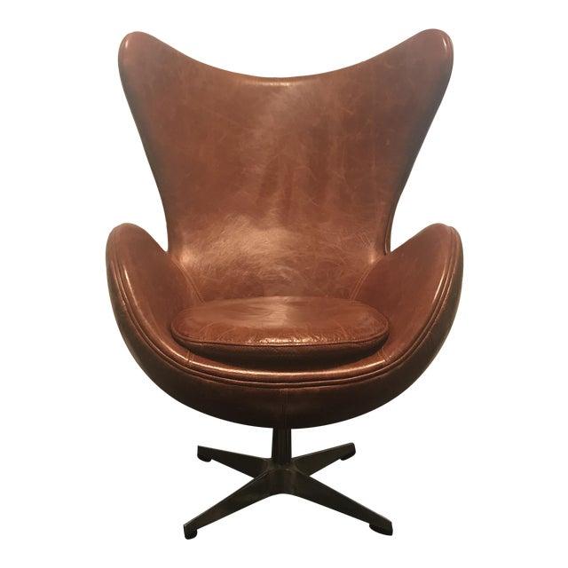Arne Jacobsen Style Cognac Leather Egg Chair