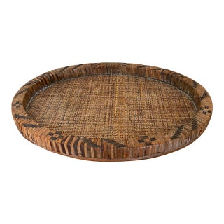 Antique Oval Wicker Cane Coffee Table Tray For Sale