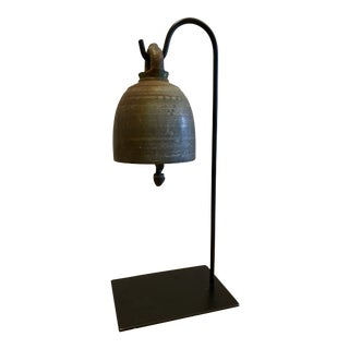 Antique Temple Bell on Stand For Sale