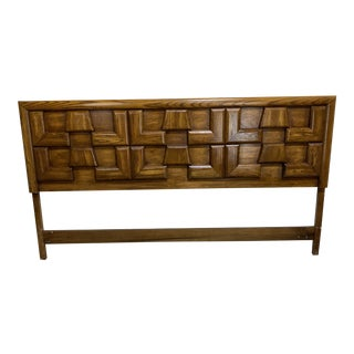 Mid Century Walnut Brutalist Style King Head Board For Sale