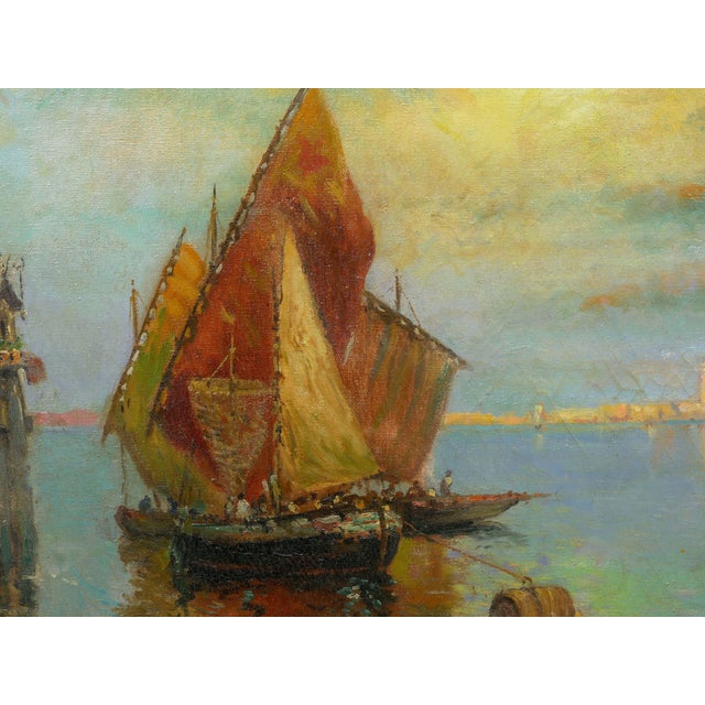 """Canvas """"View of Venice"""" Antique Oil Painting by Nicholas Briganti (American, 1861-1944) For Sale - Image 7 of 13"""