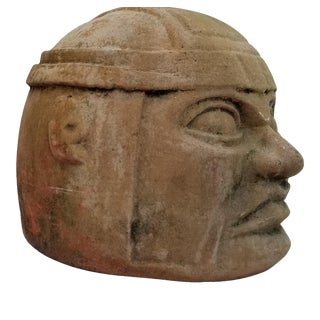 1970s Vintage Handmade Terracotta Man Head Garden Statue For Sale