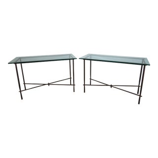 1970s Giovanni Banci Style Brutalist Hand Forged and Hammered Wrought Iron Consoles - a Pair For Sale