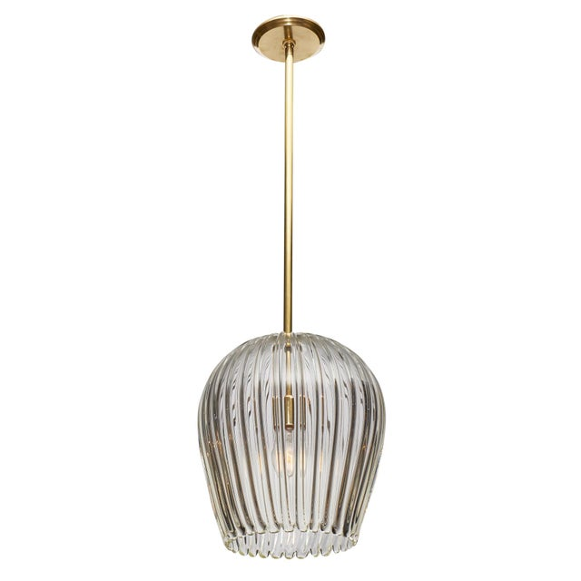 Murano Glass and Brass Bell Shaped Pendant For Sale - Image 9 of 9