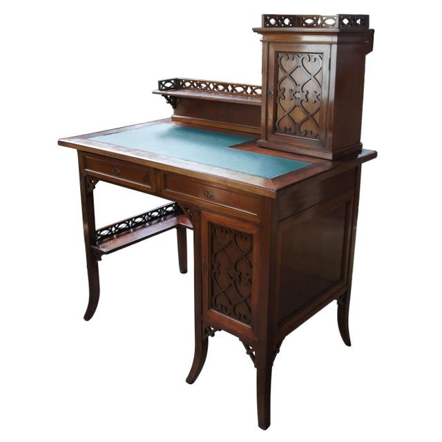 Wood Antique Victorian German Desk Green Vinyl Top Gothic Pierced Fret Board Writing Desk For Sale - Image 7 of 13