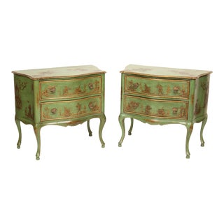 1980s Italian Louis XV Decorated Commodes - a Pair For Sale