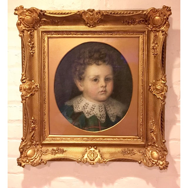 Early 20th Century Antique Pastel Portrait of a Boy Drawing For Sale - Image 10 of 10
