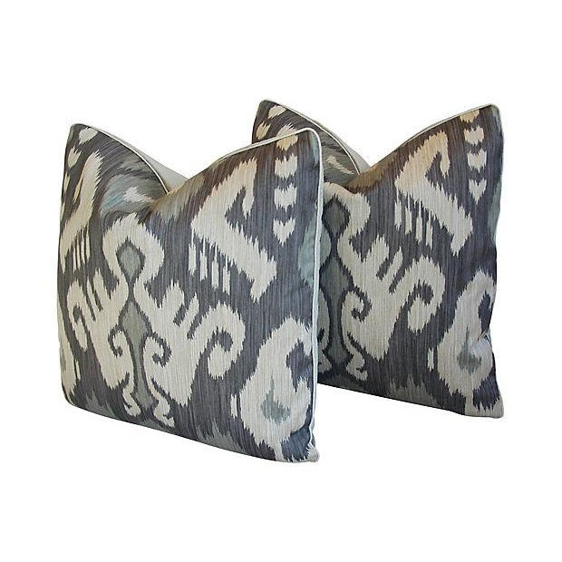 Custom Tailored Castel Gray/Taupe Radha Ikat Feather/Down Pillows - Pair For Sale - Image 4 of 7