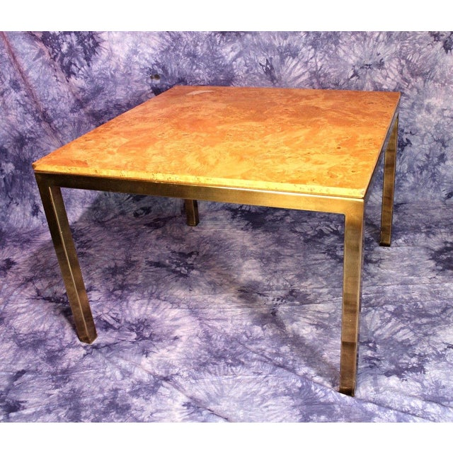 Yellow Milo Baughman Style Burled Wood & Brass Square Dining Table For Sale - Image 8 of 10