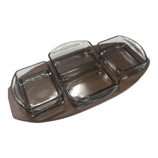 1970s Danish Brostrom Design Teak Serving Tray With Glass Inserts - 5 Pieces For Sale