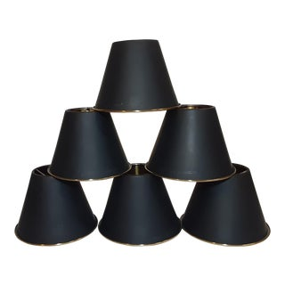 Black and Brass Chandelier Lamp Shades - Set of 6 For Sale