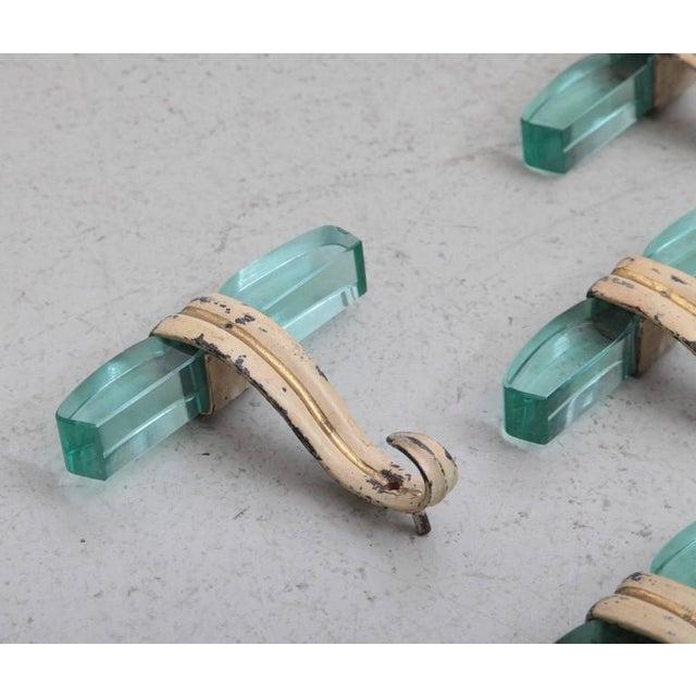 Italian Set of Five Italian Glass and Metal Coat Hangers in Fontana Arte Style For Sale - Image 3 of 5