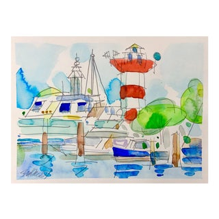 Lighthouse Bright Day Watercolor Painting For Sale