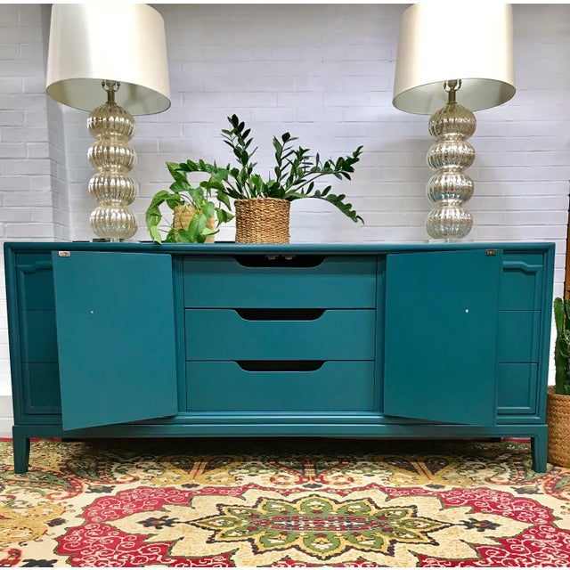 Hollywood Regency 1960s Hollywood Regency Drexel Teal Jewel Tone Buffet For Sale - Image 3 of 8