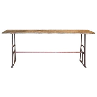 Distressed 1940s Wood & Iron Console Table