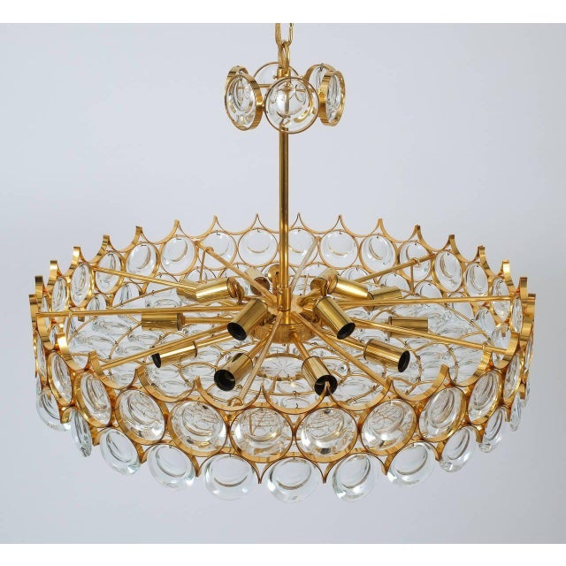 Hollywood Regency Palwa Gold Brass and Glass Large Chandelier Ceiling Lamp, 1960 For Sale - Image 3 of 10