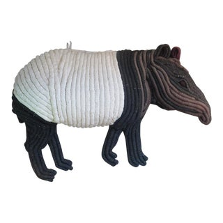 1960s Woven Macrame Tapir Textile Wall Hanging Sculpture For Sale