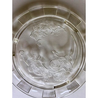 Vintage Federal Glass Footed Rose Cake Platter Preview
