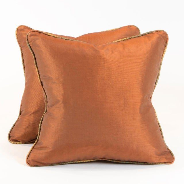 Copper Ribbed Silk Pillows - Pair - Image 2 of 4