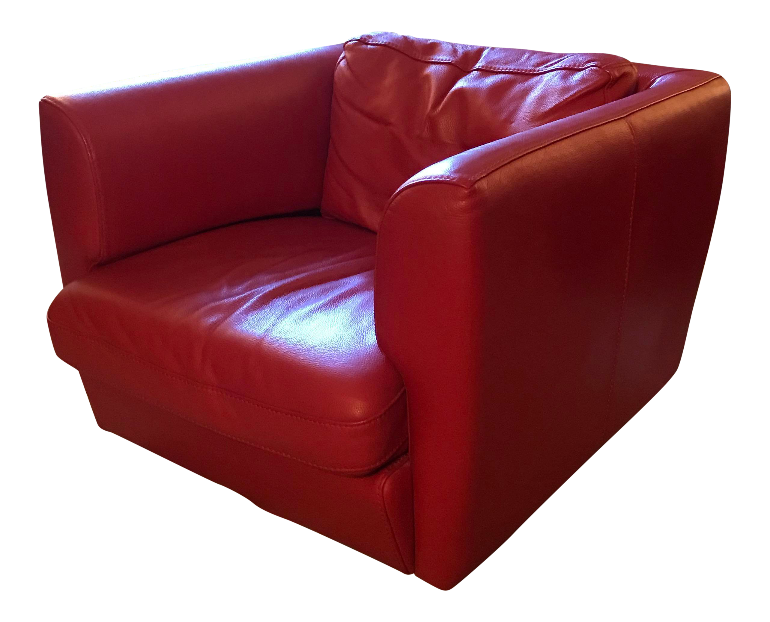Roche Bobois Red Leather Swivel Chair For Sale