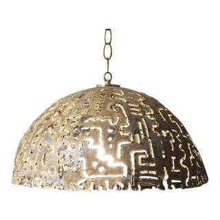 Brutalist Pendant Light Attributed to Tom Green for Feldman For Sale