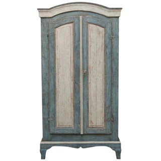 Antique Swedish Painted Baroque Armoire/ Cabinet, Late 18th Century