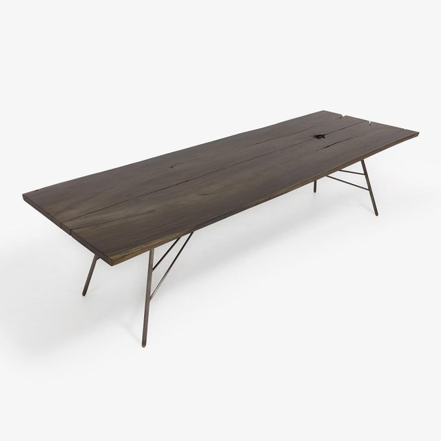 Industrial Viento Ray Dark Steel and Reclaimed Wood Dining Table For Sale - Image 11 of 13