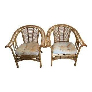 Bamboo Rattan Scoop Back Chairs - A Pair For Sale
