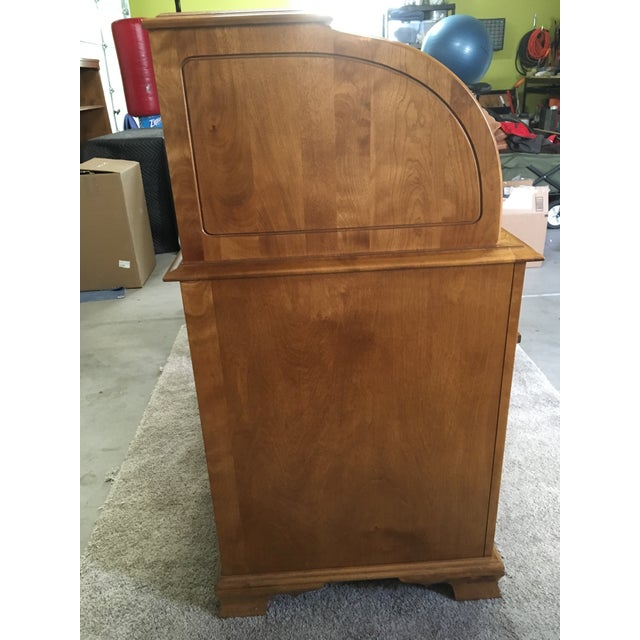 Chippendale Vintage Traditional Oak Roll Top Desk For Sale - Image 3 of 10