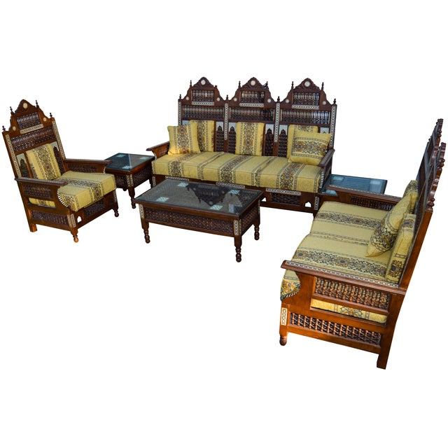 19th-century highly carved, engraved, and detailed six-piece Moorish suite. The set consists of a settee, loveseat,...