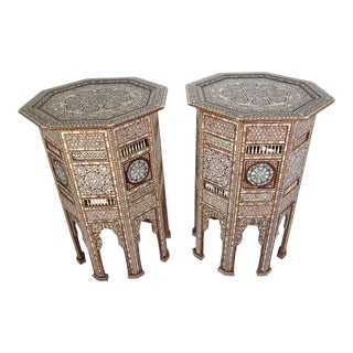 Syrian Antique Moorish Mother of Pearl Inlay Pedestal Tables, 19th Century - a Pair For Sale